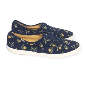 KEDS Navy Canvas Yellow Floral Sneakers Size 9.5